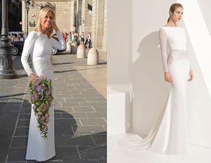 rosa clará com o seu vestido de casamento civil