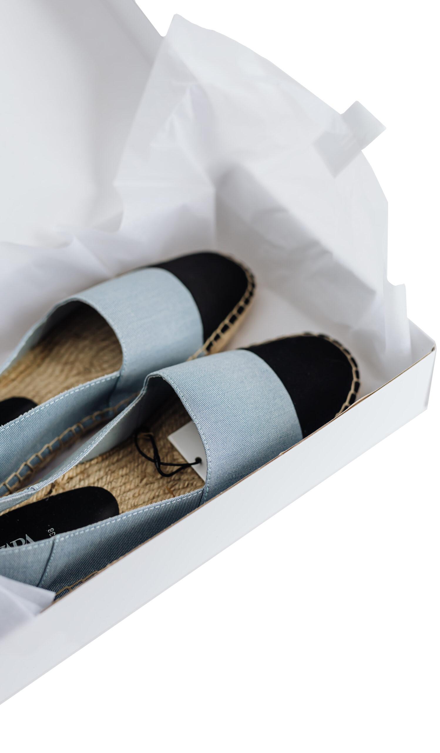 Canva Colorful stylish espadrilles pair in carton box